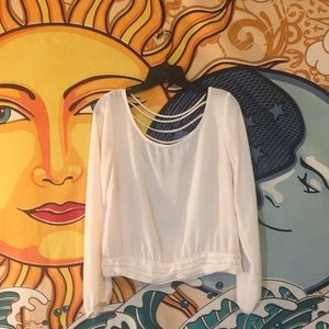 Liberty Love blouse-off white, semi sheer.Size S